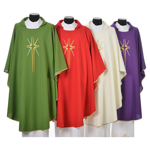 Chasuble croix stylisée avec rayons 100% polyester 1