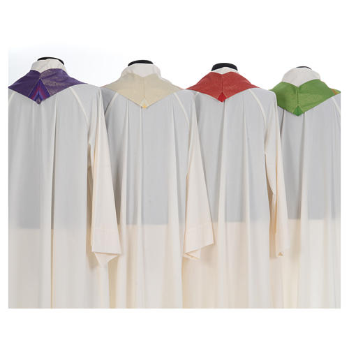 Chasuble liturgique 69% laine vierge double retors Tasmania,22% viscose, 9% polyester 8
