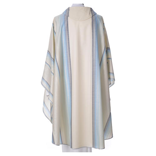 Blue Chasuble in pure Tasmanian wool with double twisted yarn 2