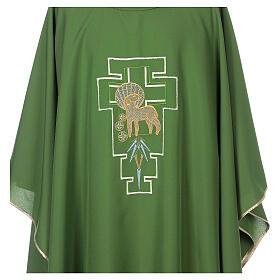 Casula 100% poliestere agnello croce San Damiano stilizzata