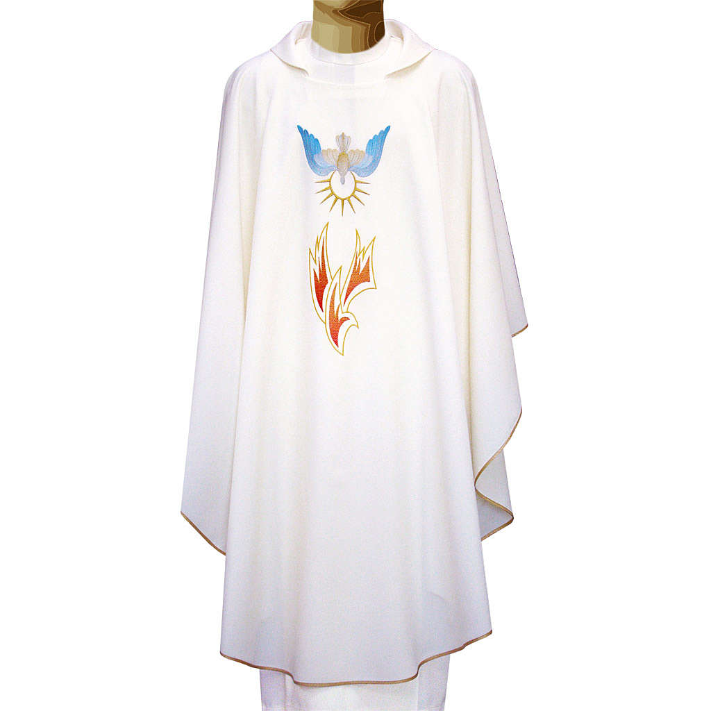 Chasuble in polyester with flames and Holy Spirit 4