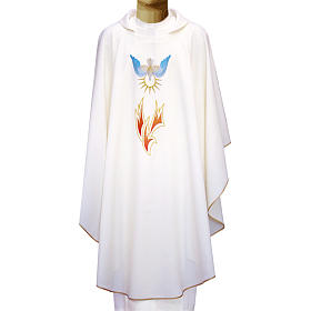 Chasuble in polyester with flames and Holy Spirit s1