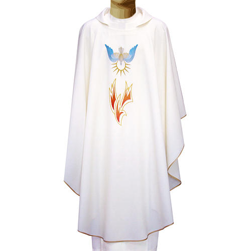Chasuble in polyester with flames and Holy Spirit 1