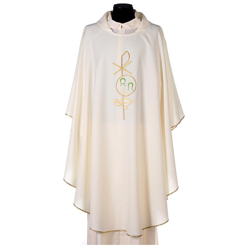 Chasuble in polyester with Chi-Rho and Alpha Omega symbol 1