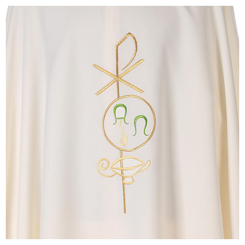 Chasuble in polyester with Chi-Rho and Alpha Omega symbol 2