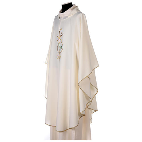 Chasuble in polyester with Chi-Rho and Alpha Omega symbol 3