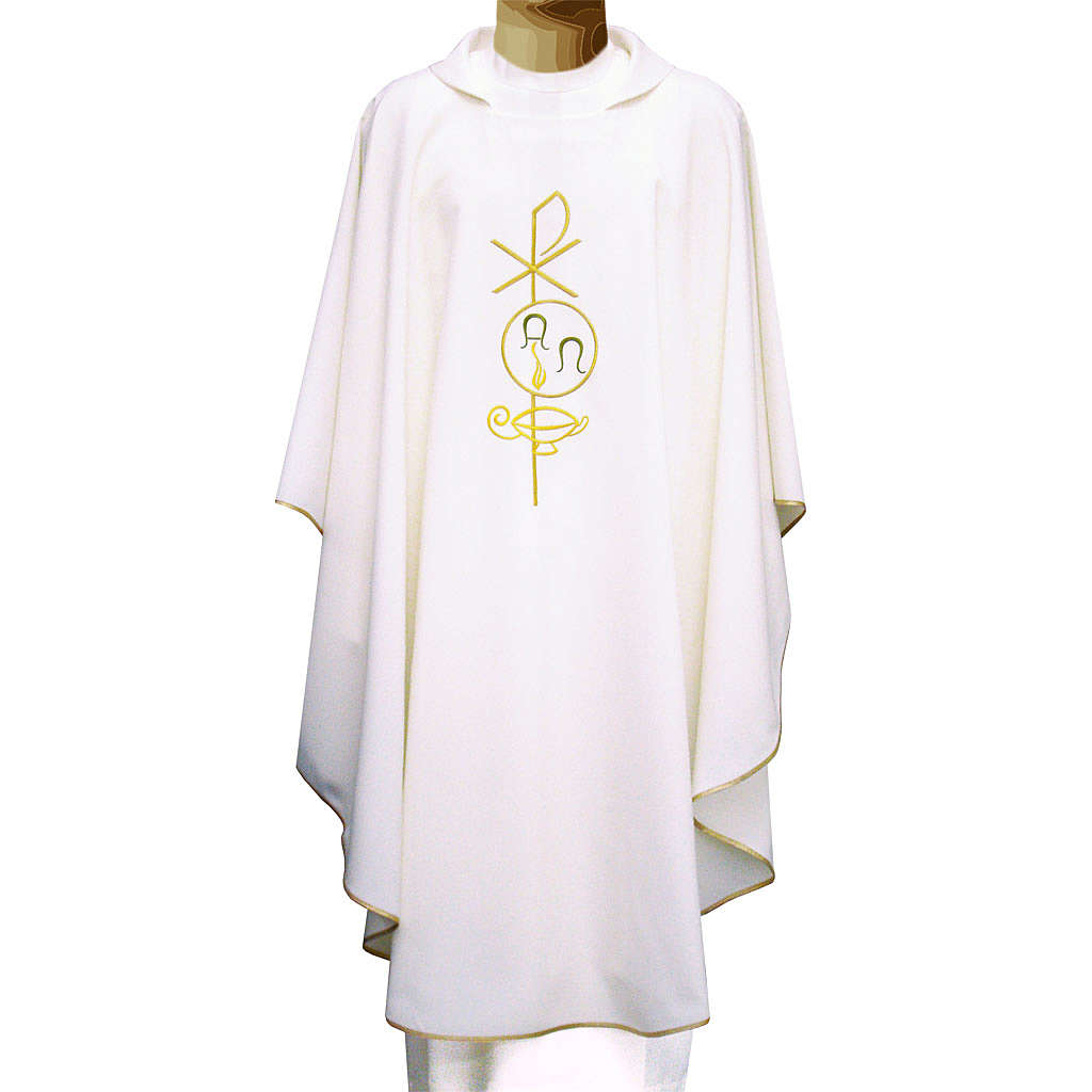 Chasuble in polyester with Chi-Rho and Alpha Omega symbol 4