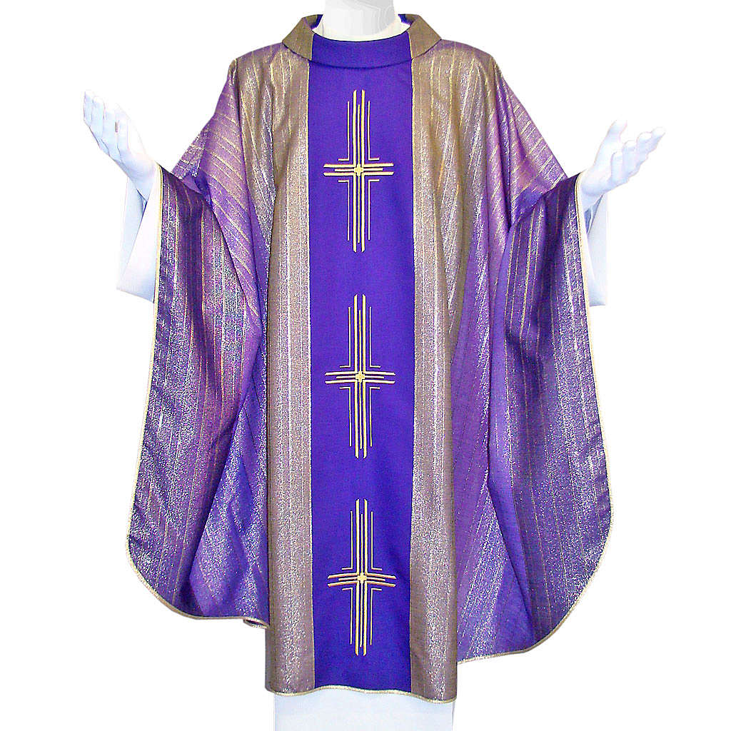 Chasuble 3 crosses in Tasmanian wool with double twisted yarn 4