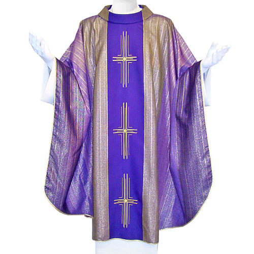 Chasuble 3 crosses in Tasmanian wool with double twisted yarn 1