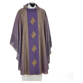 Chasuble 4 crosses in Tasmanian wool with double twisted yarn s3