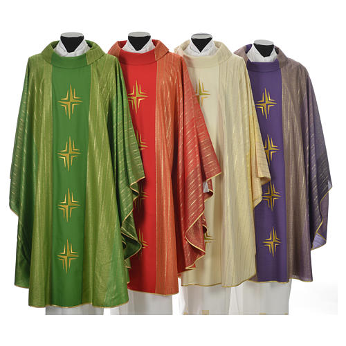 Chasuble 4 crosses in Tasmanian wool with double twisted yarn 1