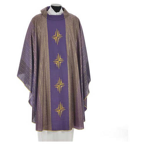 Chasuble 4 crosses in Tasmanian wool with double twisted yarn 3