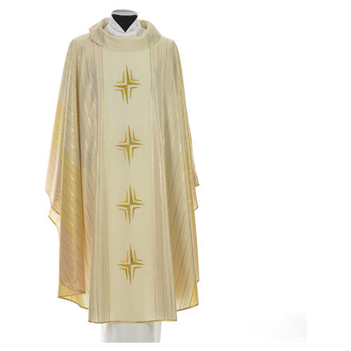 Chasuble 4 crosses in Tasmanian wool with double twisted yarn 5