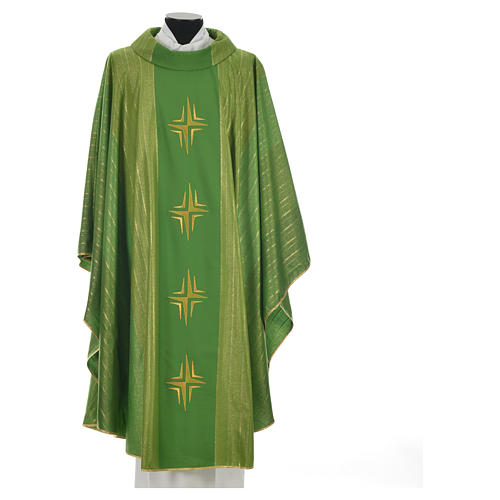 Chasuble 4 crosses in Tasmanian wool with double twisted yarn 9