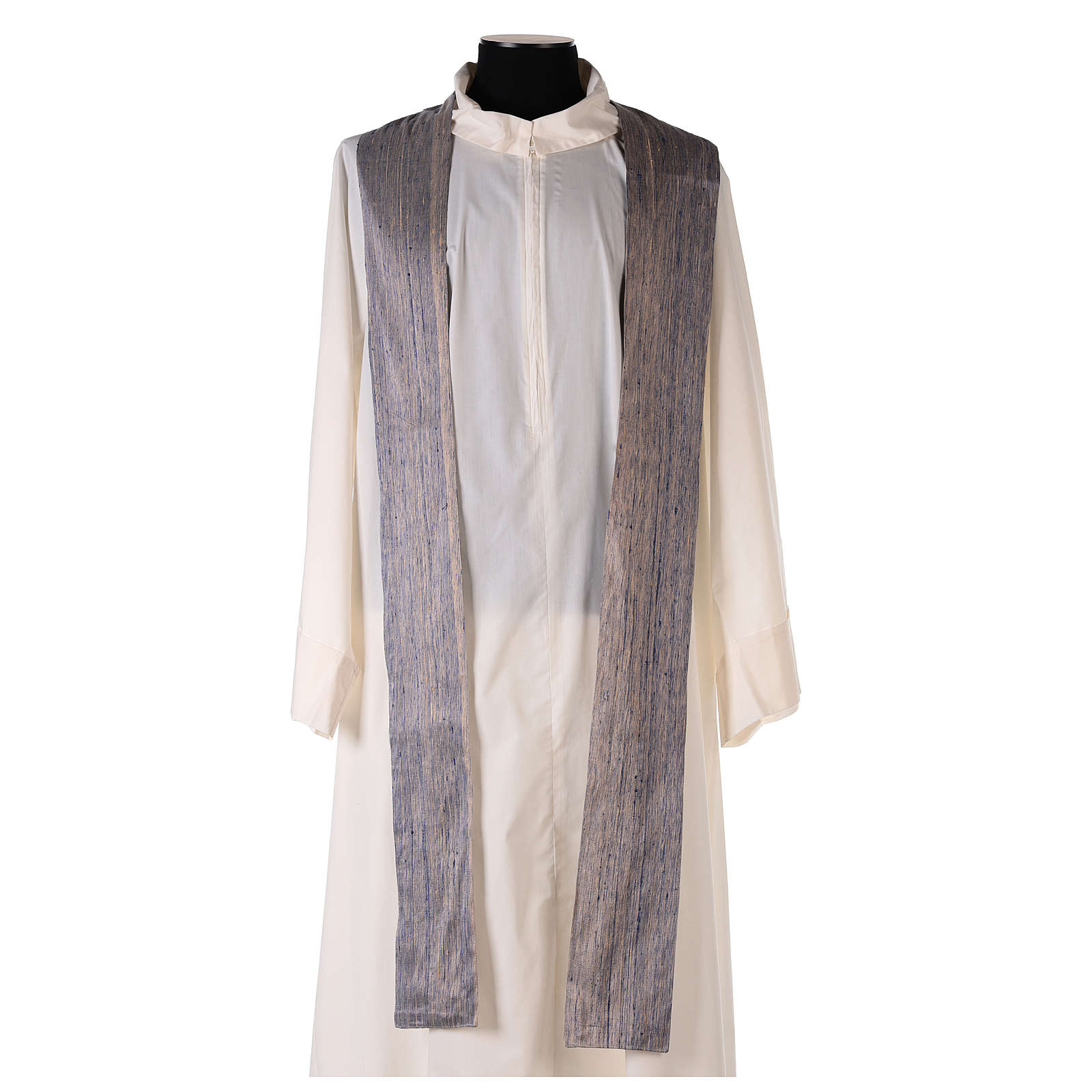Blue Priest Chasuble in pure Shantung silk 4
