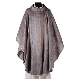 Blue Priest Chasuble in pure Shantung silk s1