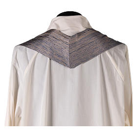 Blue Priest Chasuble in pure Shantung silk s7