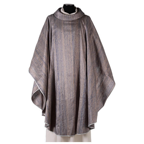 Blue Priest Chasuble in pure Shantung silk 1