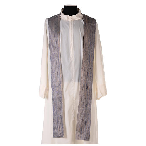 Blue Priest Chasuble in pure Shantung silk 6