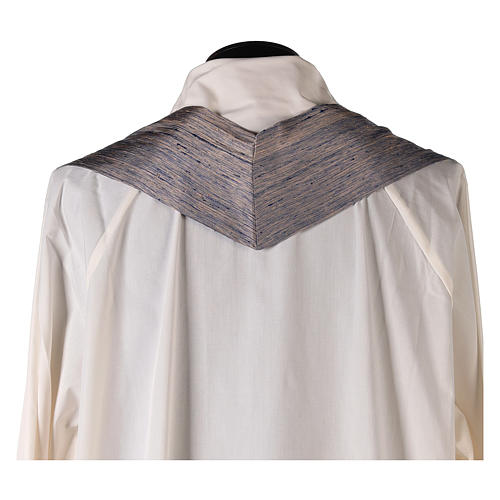 Blue Priest Chasuble in pure Shantung silk 7