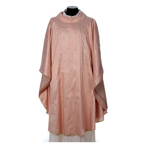 Pink Chasuble in pure Shantung silk 1