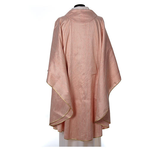 Pink Chasuble in pure Shantung silk 2