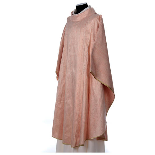 Pink Chasuble in pure Shantung silk 3