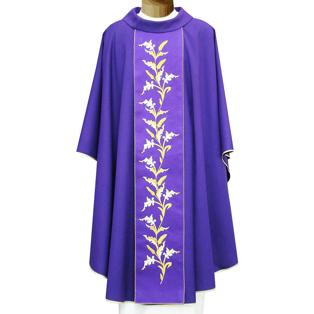 Chasuble in wool double twisted yarn with wheat embroidery 4