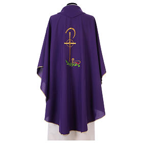 Chasuble in polyester with Chi-Rho and wheat symbol s3