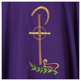 Chasuble in polyester with Chi-Rho and wheat symbol s2