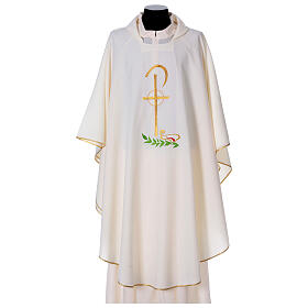 Chasuble in polyester with Chi-Rho and wheat symbol s5
