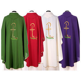 Chasuble in polyester with Chi-Rho and wheat symbol s7