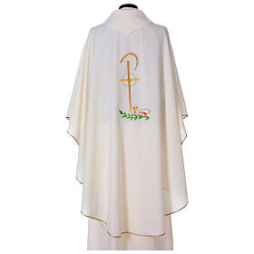 Chasuble in polyester with Chi-Rho and wheat symbol s8