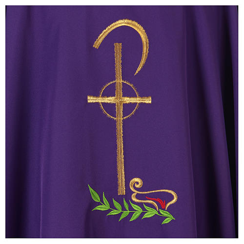 Chasuble in polyester with Chi-Rho and wheat symbol 2
