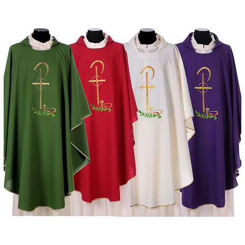 Chasuble in polyester with Chi-Rho and wheat symbol 1