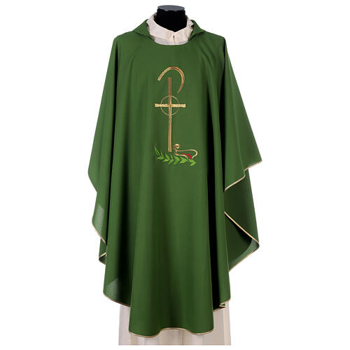Chasuble in polyester with Chi-Rho and wheat symbol 3