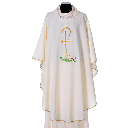 Chasuble in polyester with Chi-Rho and wheat symbol 5