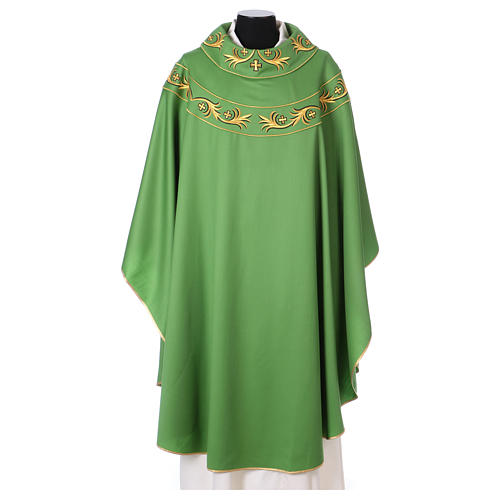 Catholic Priest Chasuble in pure wool with embroidered galloon 1
