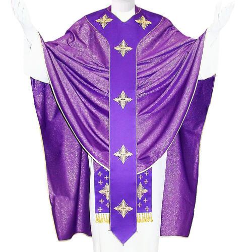 Casulla medieval cruces 90% pura lana virgen y 10% lurex 1