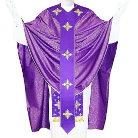 Embroidered Medieval Chasuble in pure wool and lurex s1