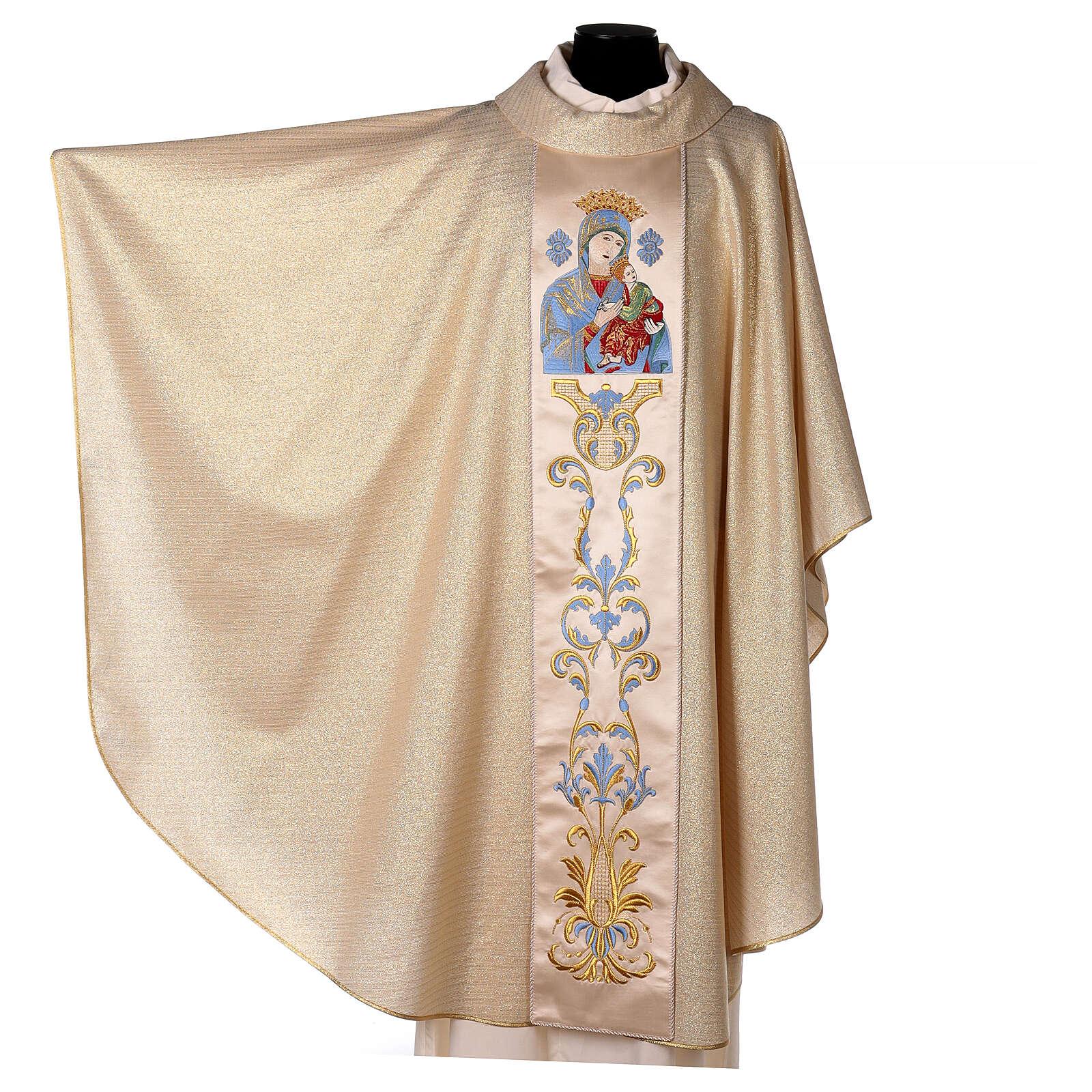 Casulla 95% pura lana y 5% lurex Virgen con el Niño borda 4