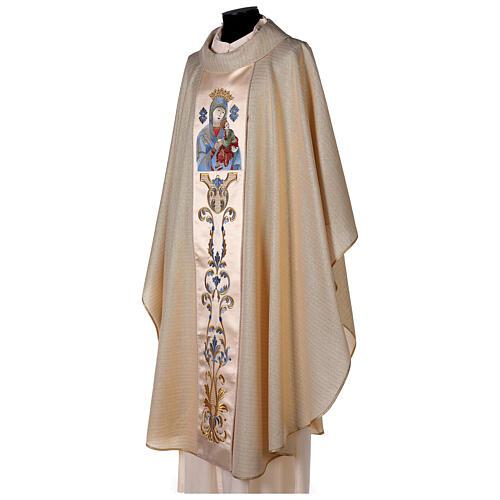 Casulla 95% pura lana y 5% lurex Virgen con el Niño borda 3