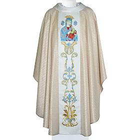 Chasuble Mariale Notre-Dame du Perpétuel Secours laine et lurex s1