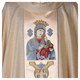 Chasuble Mariale Notre-Dame du Perpétuel Secours laine et lurex s2