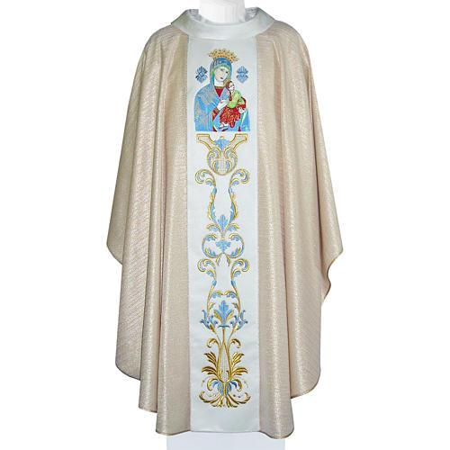 Chasuble Mariale Notre-Dame du Perpétuel Secours laine et lurex 1