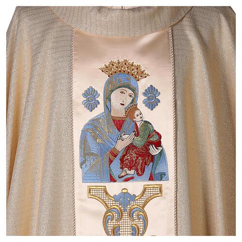 Chasuble Mariale Notre-Dame du Perpétuel Secours laine et lurex