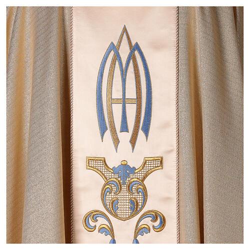 Chasuble Mariale Notre-Dame du Perpétuel Secours laine et lurex 5