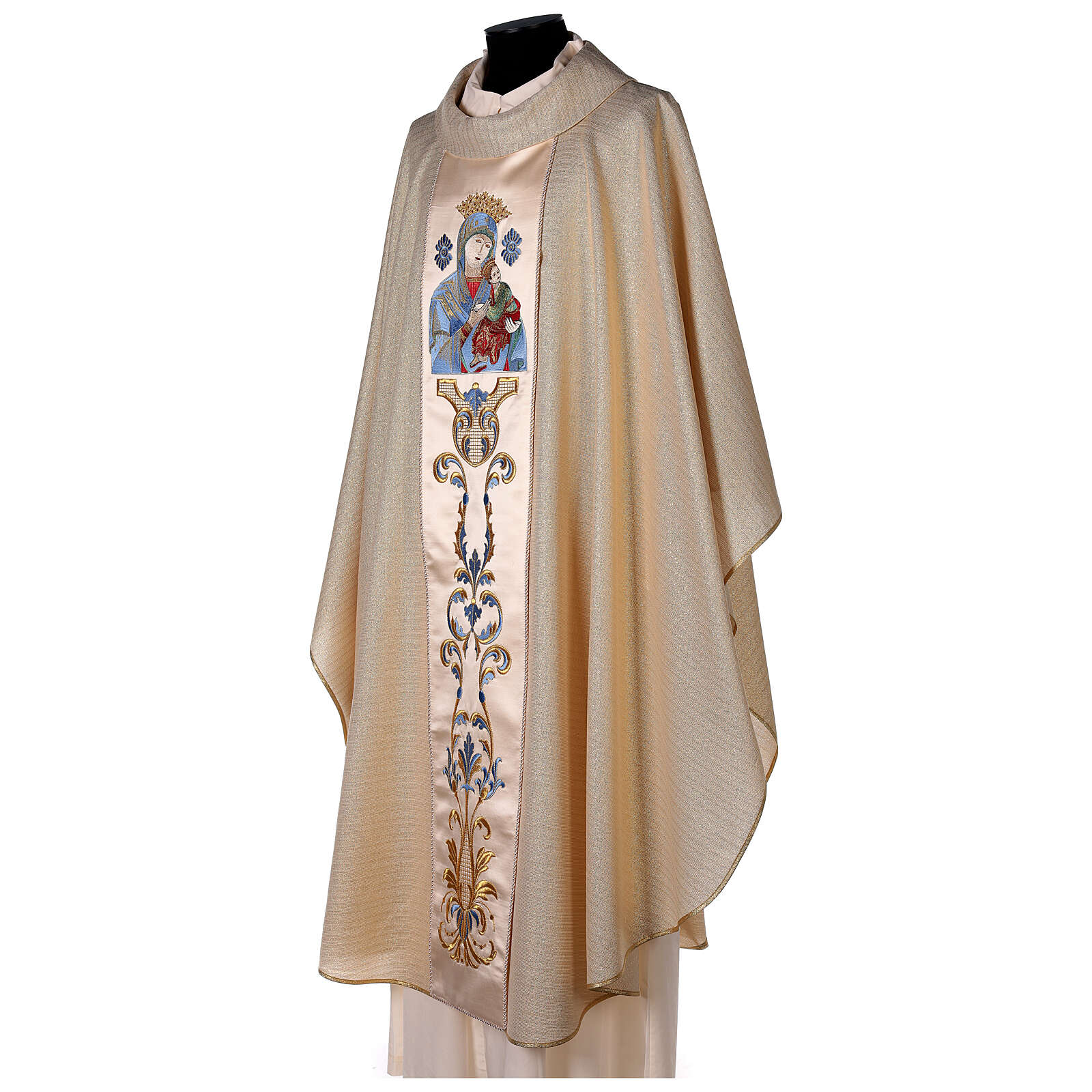 White Marian Chasuble in wool and lurex, with double twisted yarn 4