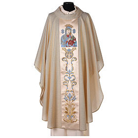 White Marian Chasuble in wool and lurex, with double twisted yarn s1