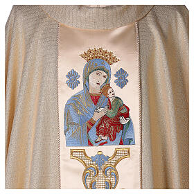 White Marian Chasuble in wool and lurex, with double twisted yarn s2